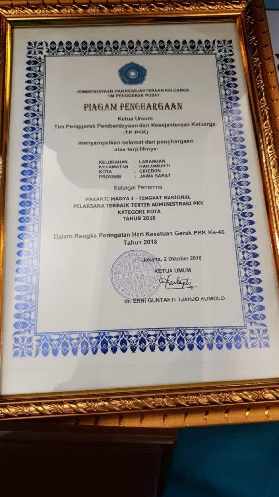 Kelurahan Larangan meraih penghargaan Pakarti Madya 1 Tingkat Nasional pelaksana terbaik tertib administrasi PKK
